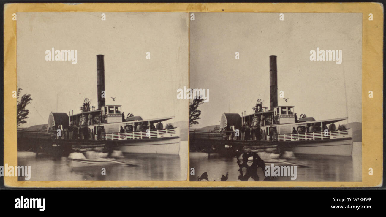 Lanching (ie launching) at Bolton, Lake George, from Robert N Dennis collection of stereoscopic views - Stock Image