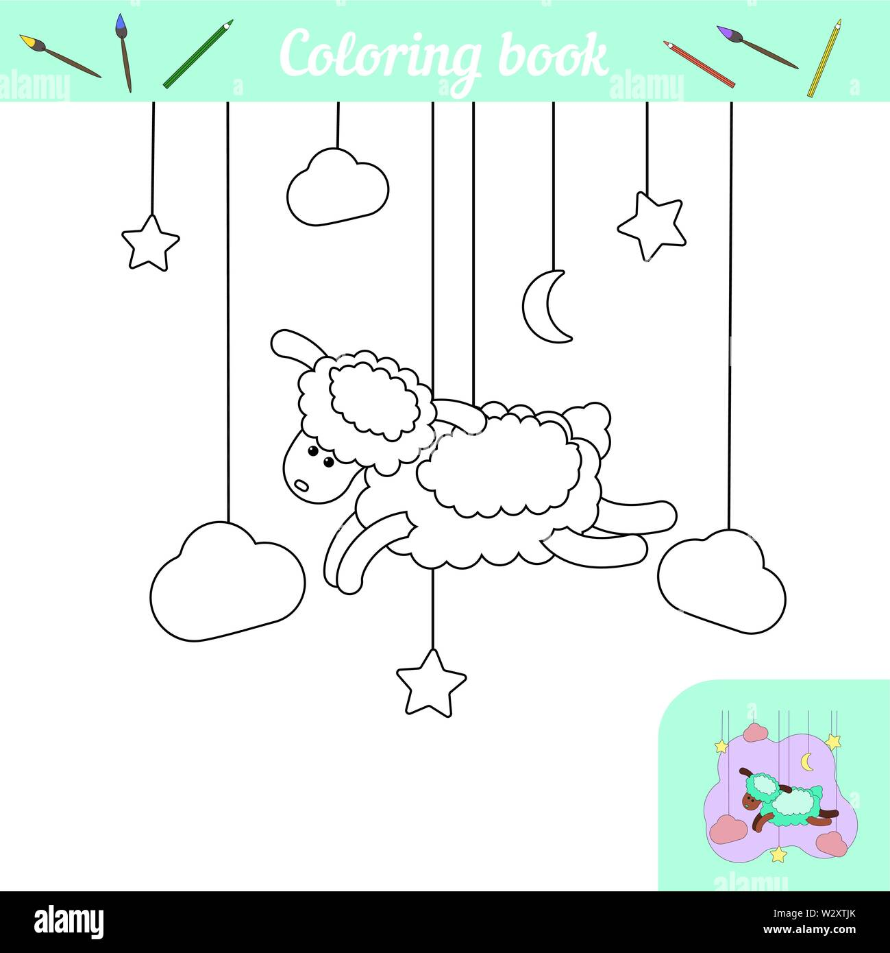 Cute lamb and stars. Coloring page with color example. A simple coloring game for preschoolers. Cartoon character farm animal sheep. Poster for printing. Black and white silhouette. Educational card. Vector illustration Moon, cloud, night - Stock Image