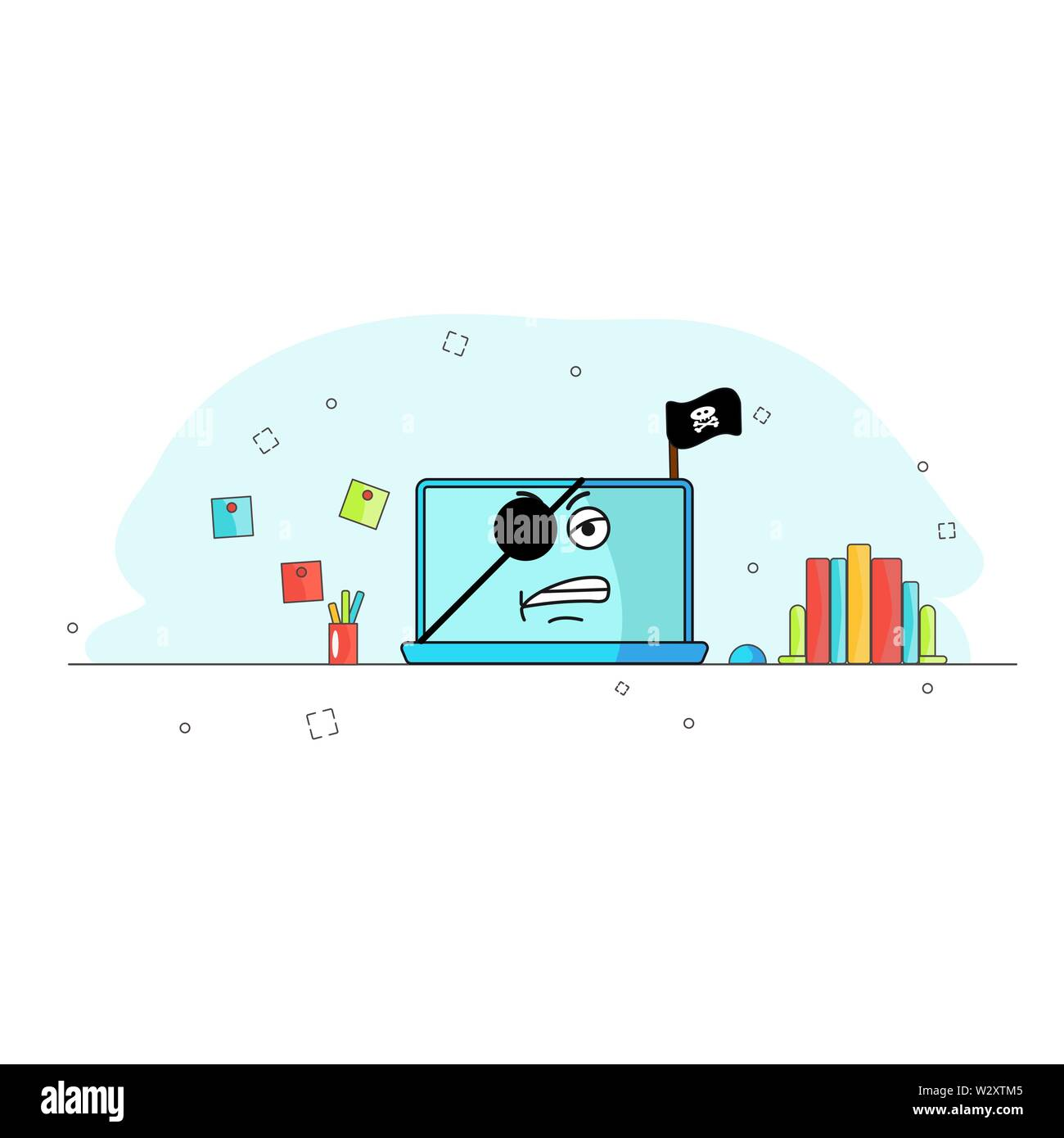 Broken laptop computer. Captured by pirated software. Needs repairs. Device is not working. Evil emotion. cartoon character technique. Workplace. Vector flat illustration. Idea for site, application. Equipment is defective. Icon on blue background Stock Vector