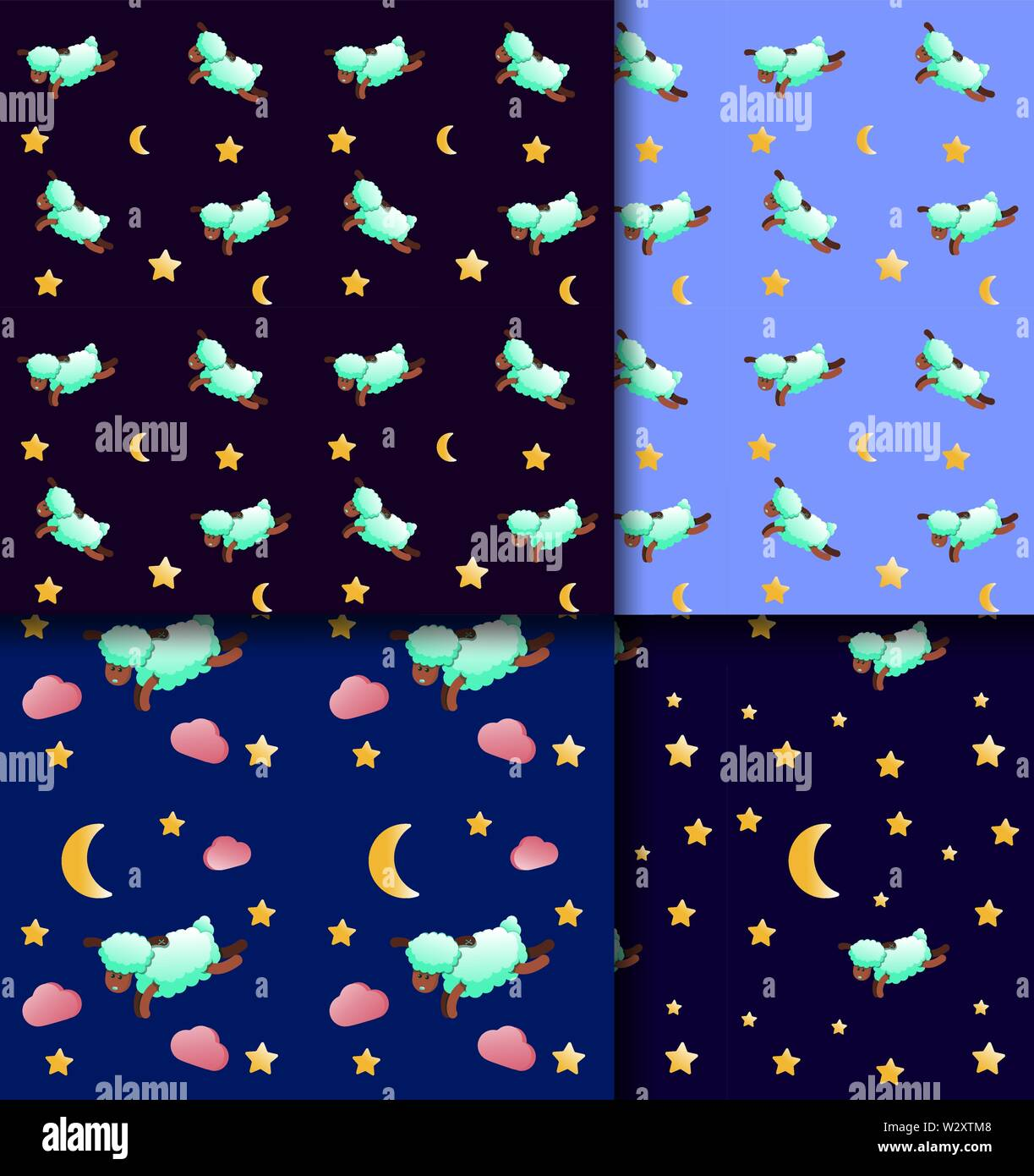 Cute sleepy sheep. Seamless pattern for baby textiles. Cartoon animal character. Set of prints on blue and black background. Stars and moon. funny design for fabric. Turquoise wool. Vector illustration. Pink clouds. Repeating design for pajamas Stock Vector