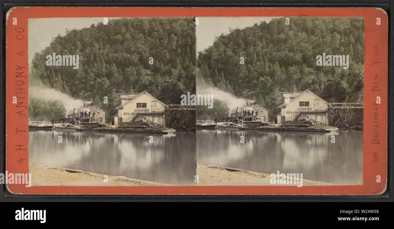 Locks and dry dock at Erie Canal, from Robert N Dennis collection of stereoscopic views - Stock Image
