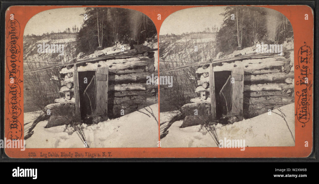 Log Cabin, Bloody Run, Niagara, NY, from Robert N Dennis collection of stereoscopic views 2 - Stock Image