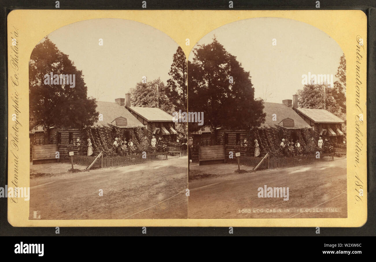 Log cabin Ye olden time, by Centennial Photographic Co 2 - Stock Image
