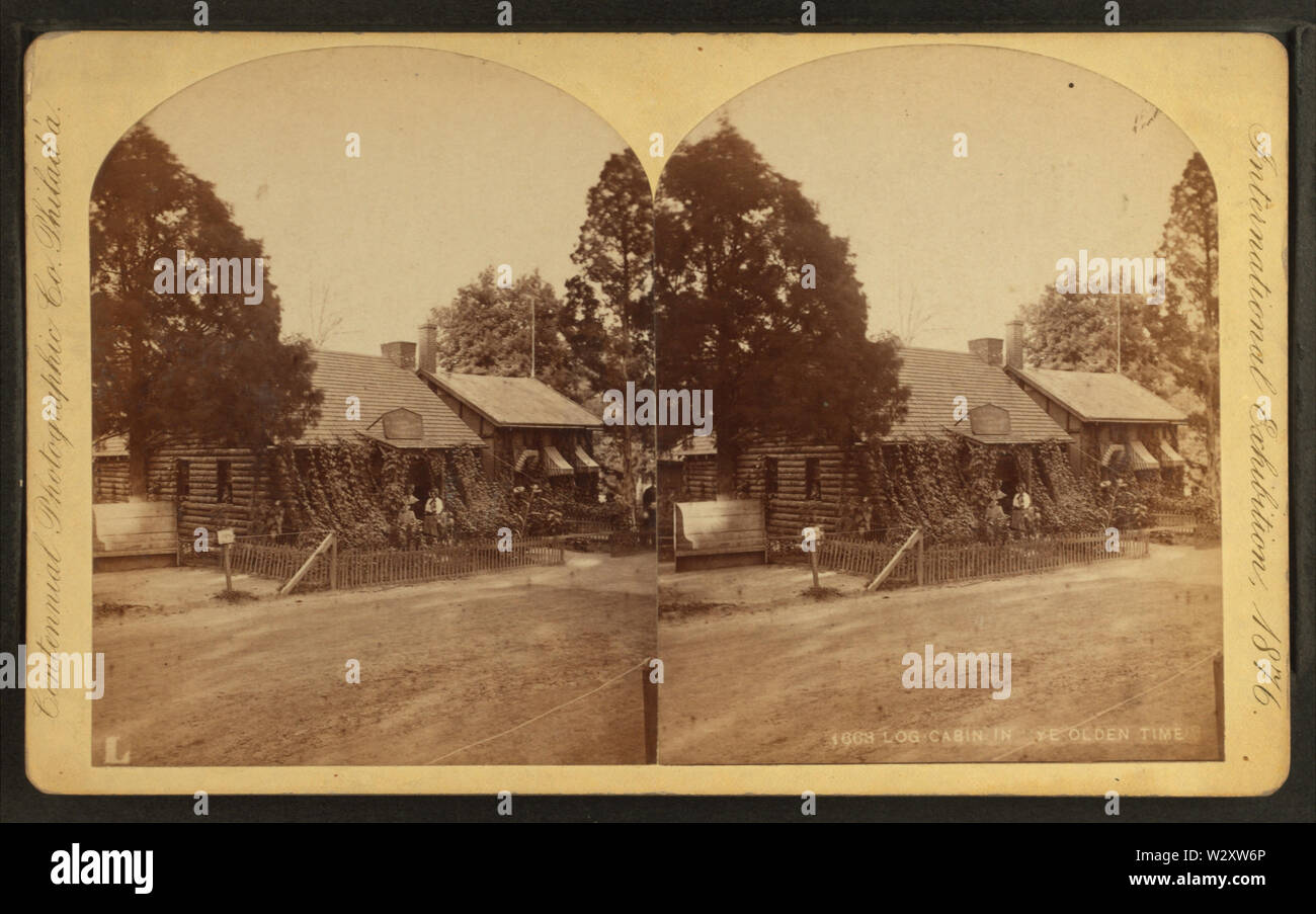 Log cabin Ye olden time, by Centennial Photographic Co - Stock Image