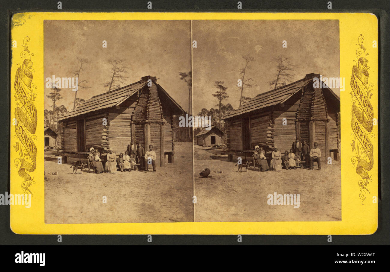 Log cabin Florida, from Robert N Dennis collection of stereoscopic views - Stock Image