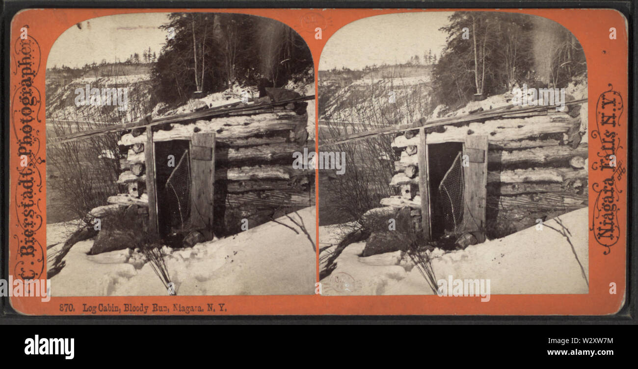 Log Cabin, Bloody Run, Niagara, NY, from Robert N Dennis collection of stereoscopic views - Stock Image