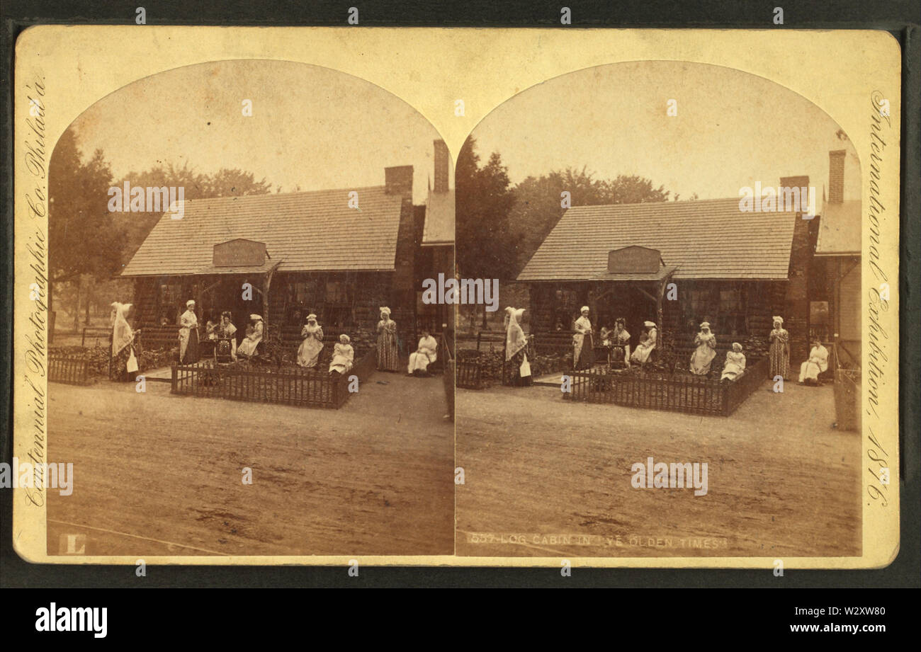 Log cabin in ye olden times, by Centennial Photographic Co 3 - Stock Image