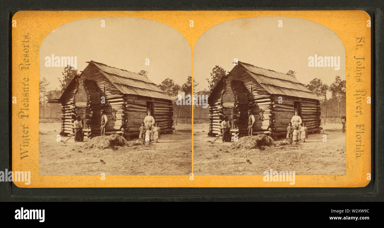 Log cabin, from Robert N Dennis collection of stereoscopic views - Stock Image