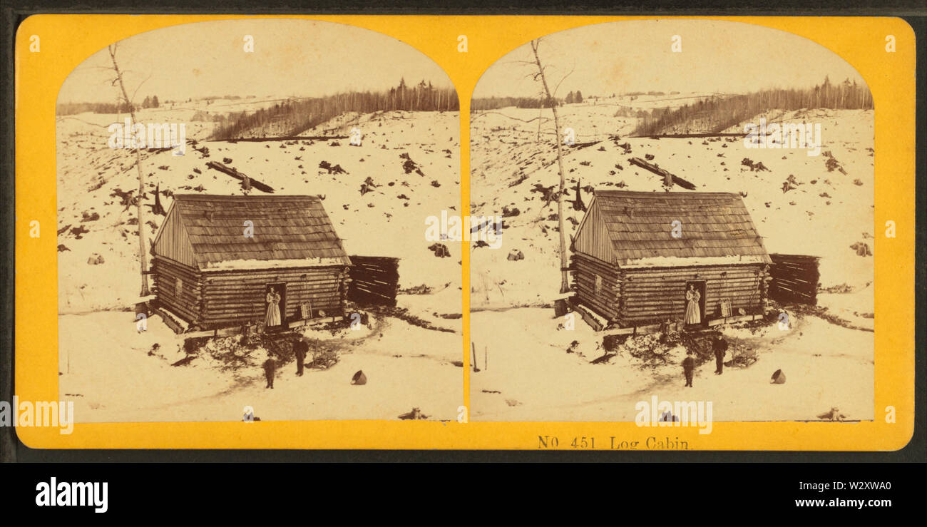 Log cabin, from Robert N Dennis collection of stereoscopic views 3 - Stock Image