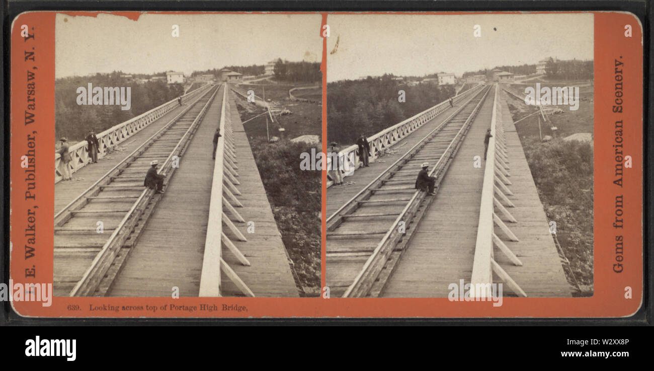 Looking across top of Portage High Bridge, by Walker, L E, 1826-1916 - Stock Image