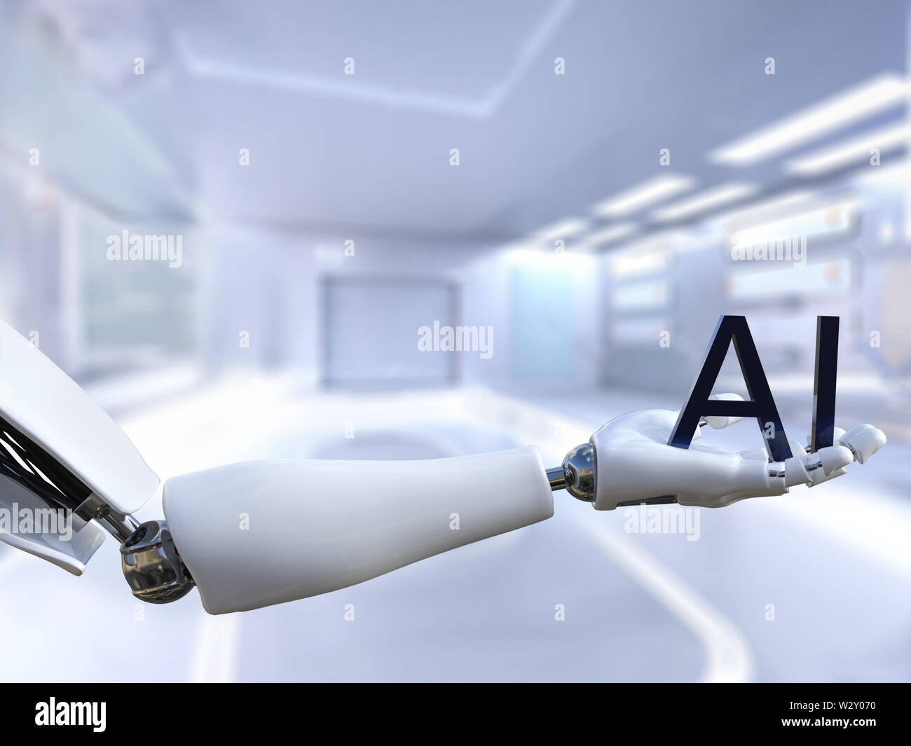 3D rendering of a male robot hand holding the text letters AI, meaning artificial intelligence technology. Futuristic concept. Stock Photo