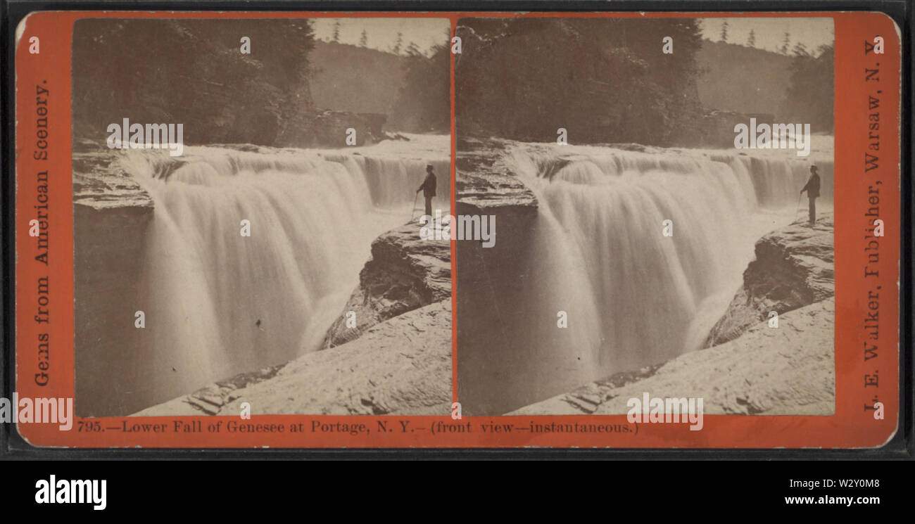 Lower Fall of Genesee at Portage, NY (front view, instantaneous), by Walker, L E, 1826-1916 - Stock Image