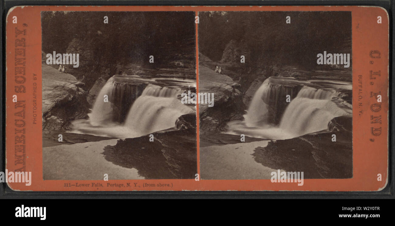 Lower Falls, Portage, NY (from above), by Pond, C L (Charles L) - Stock Image