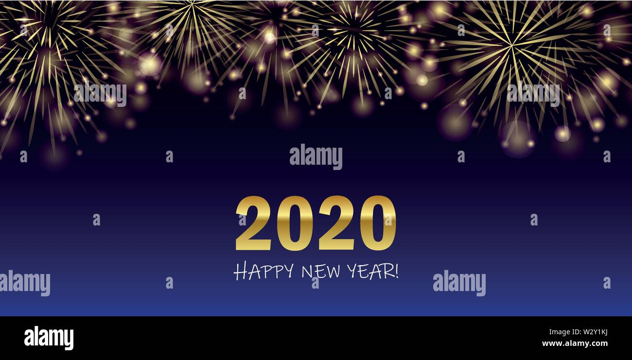 happy new year 2020 golden firework background vector illustration EPS10 - Stock Vector