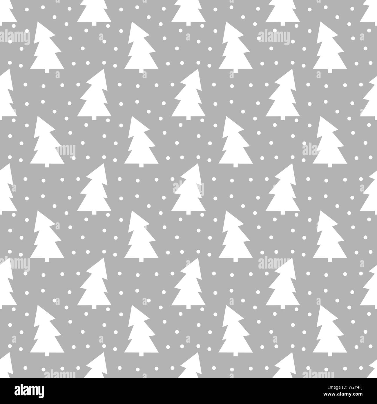 Winter Christmas trees pattern, grey backdrop. Vector illusttration - Stock Image