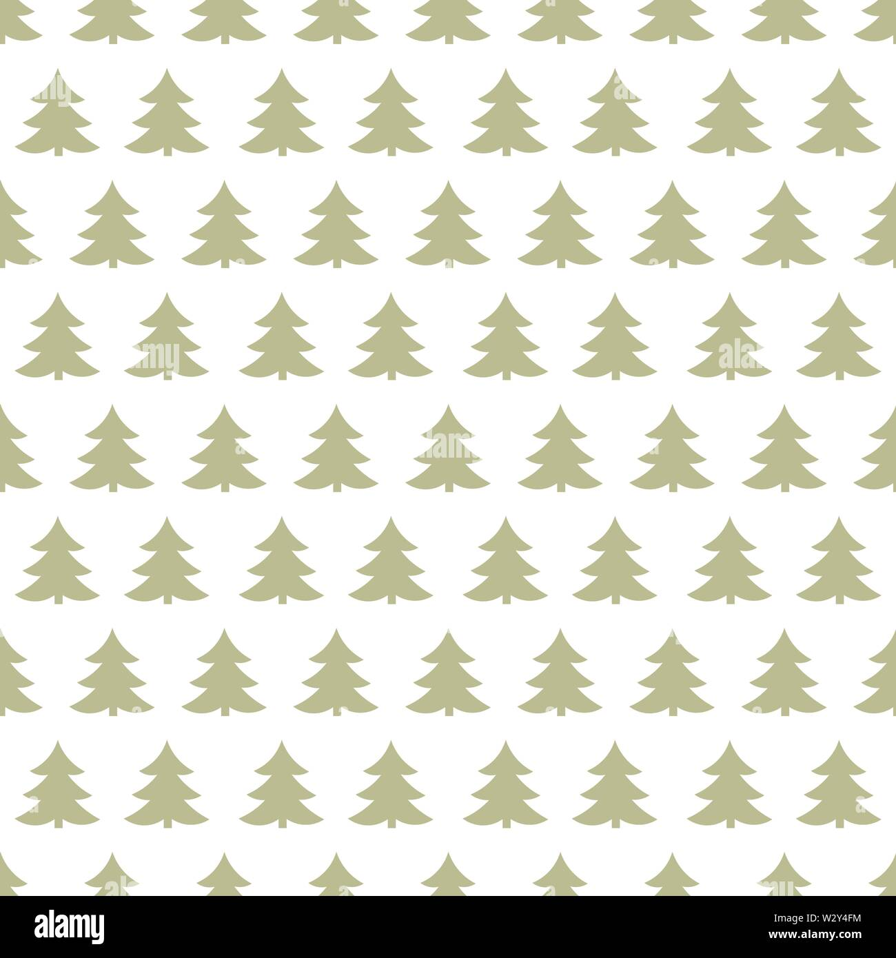 Christmas trees pattern on white background. Vector illustration - Stock Image