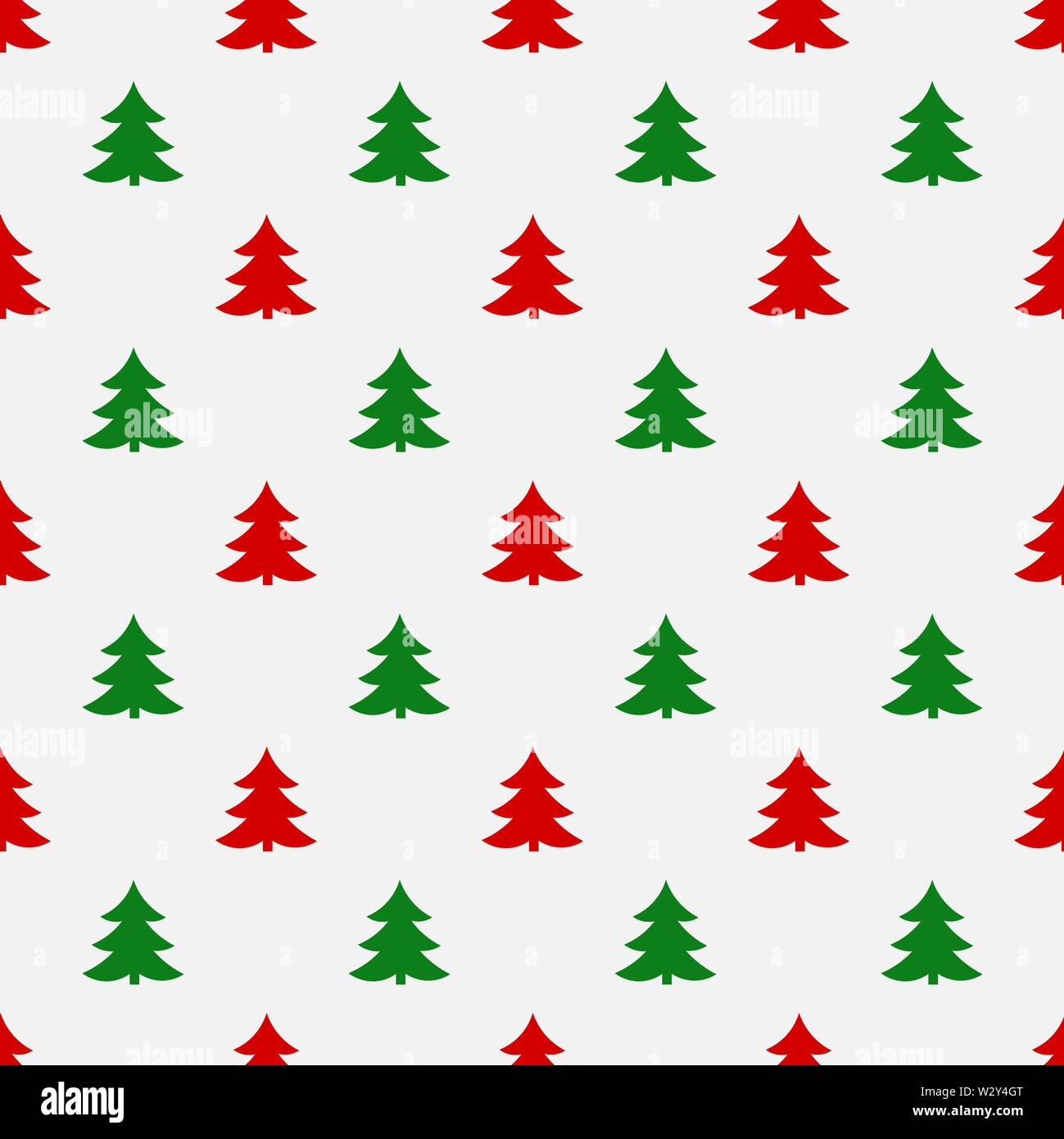 Red and green Christmas trees seamless pattern. Vector illustration - Stock Image