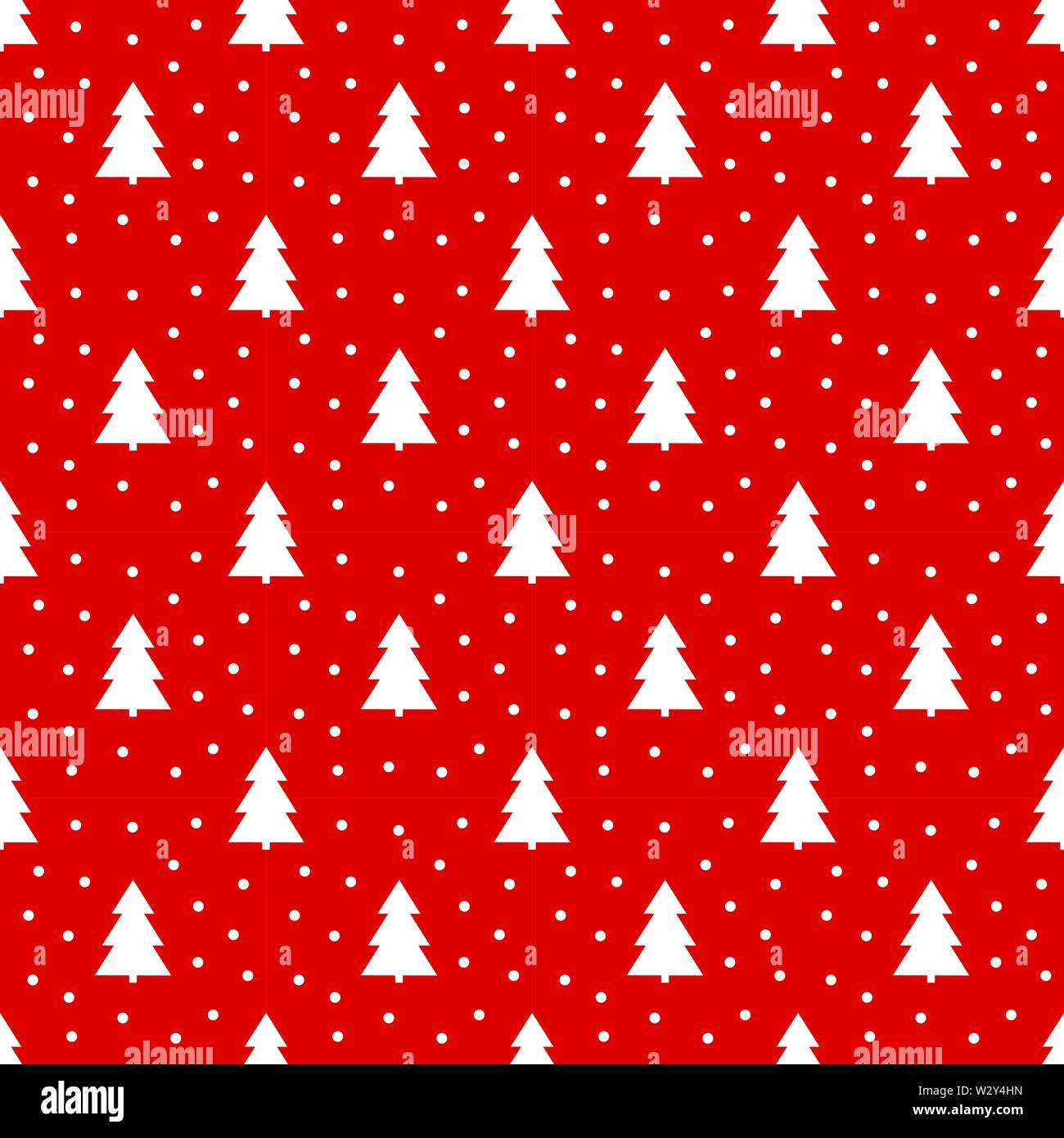 White Christmas trees and snow on red background, Christmas pattern. - Stock Image