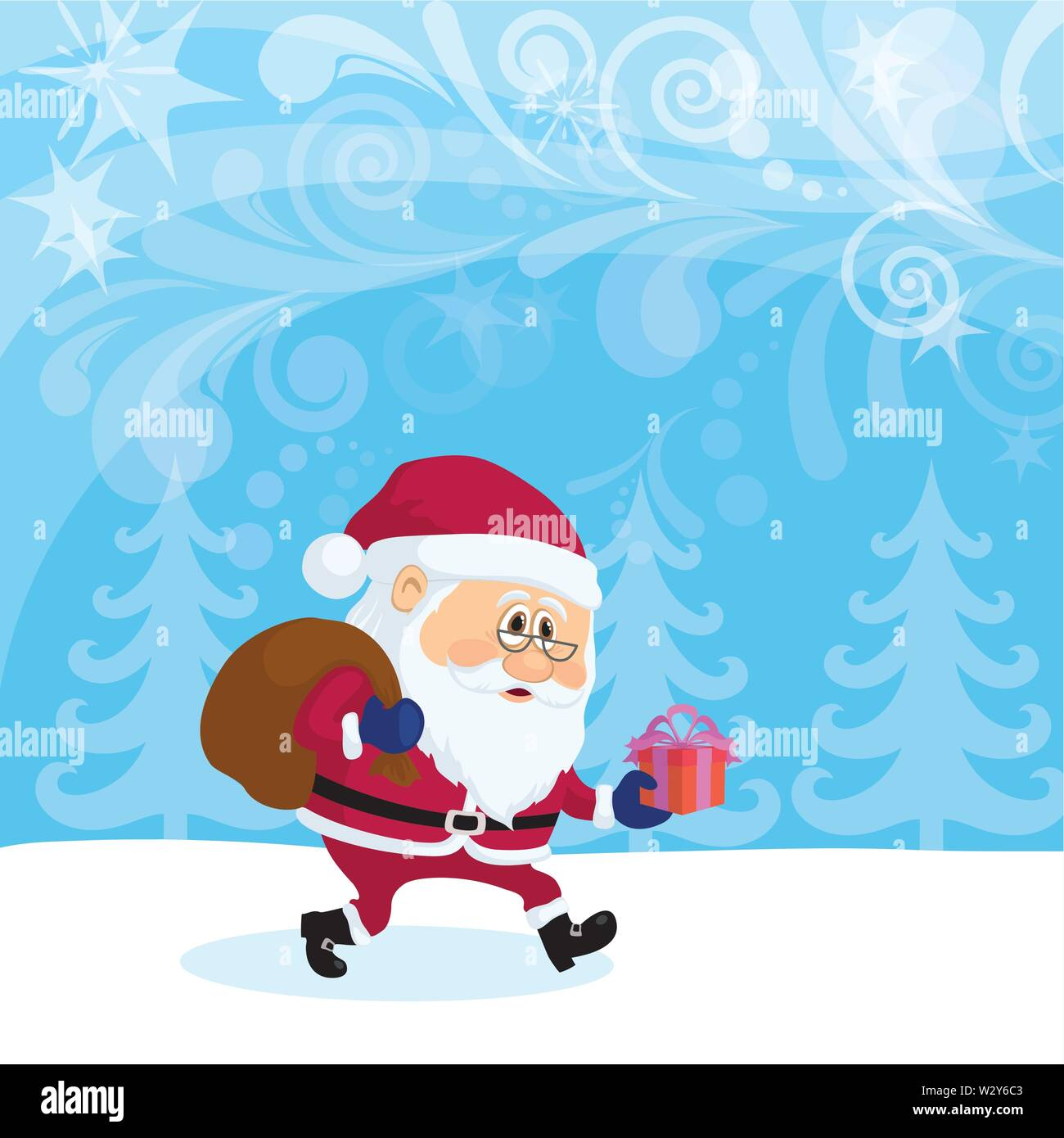 Santa Claus in Christmas Forest - Stock Image