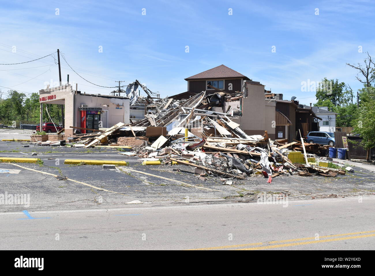 Tornado damage that incurred on May 27, 2019 in the Dayton, Ohio vicinity - Stock Image