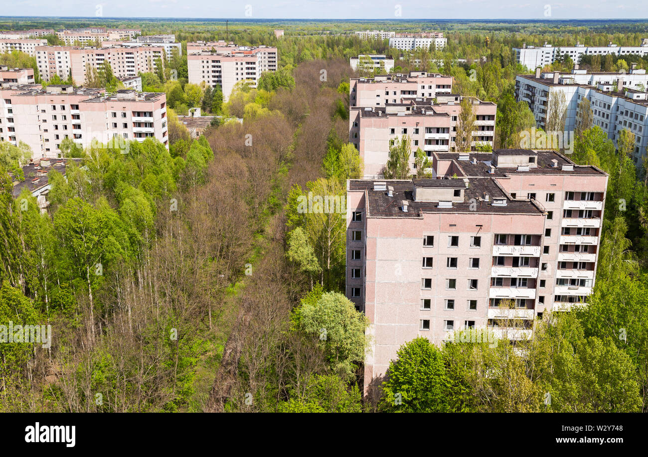 Aerial view on residential area of abandoned Pripyat city in Chernobyl Exclusion Zone, Ukraine - Stock Image