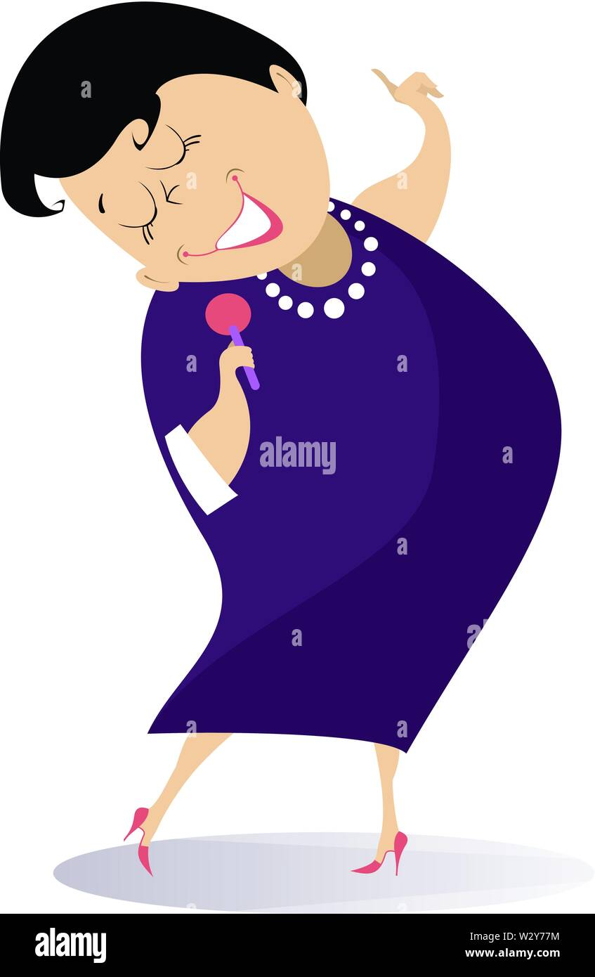 Romantic singer woman isolated illustration. Woman with a microphone sings a song with inspiration illustration - Stock Vector