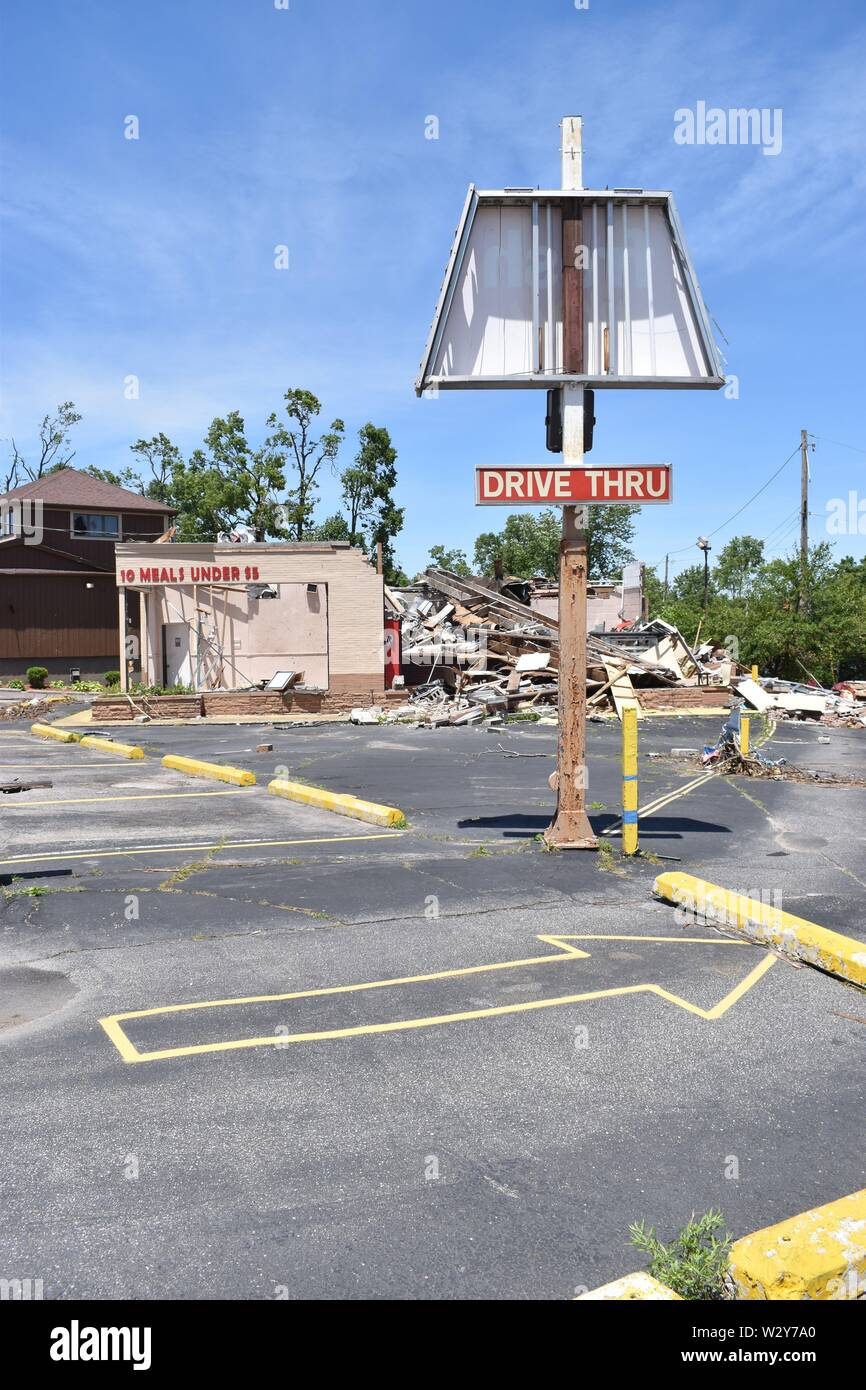 Tornado damage that occurred on May 27, 2019 in the Dayton, Ohio vicinity - Stock Image