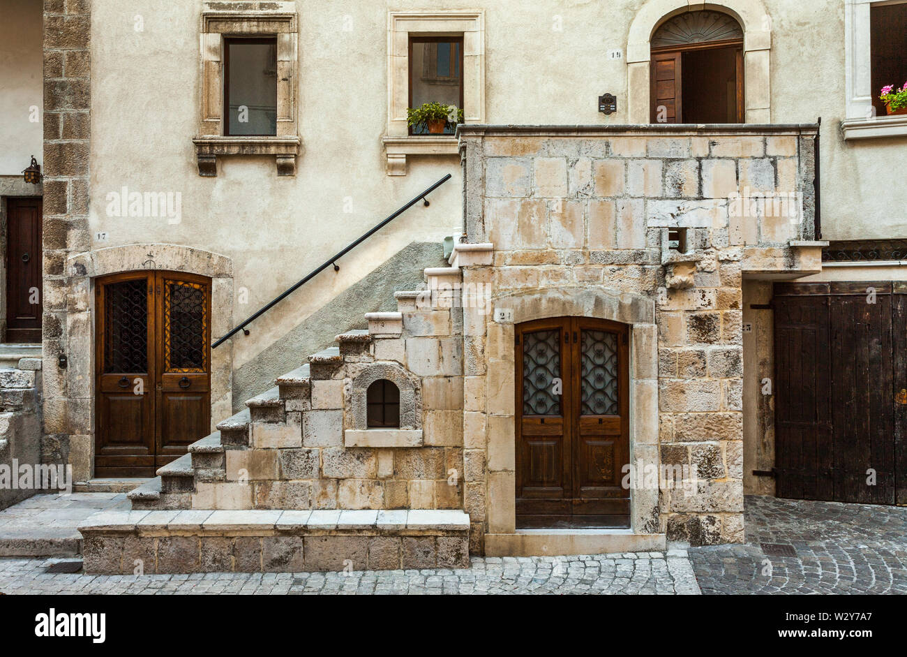 ancient architectures in Pescocostanzo - Stock Image