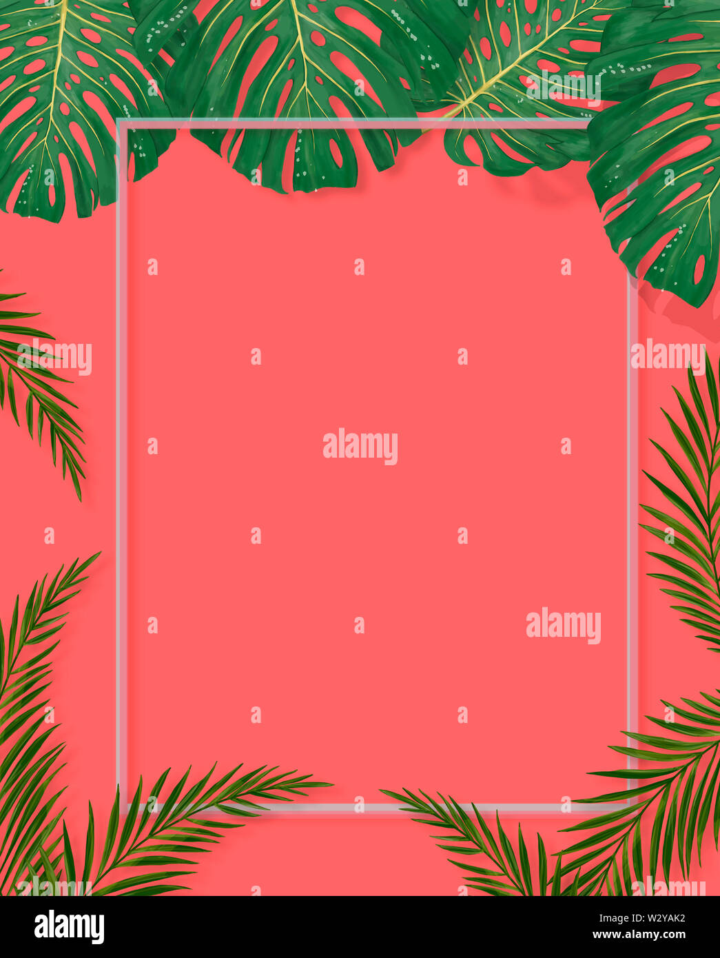 8x12 FT Leaf Vinyl Photography Backdrop,Miami Tropical Aquatic Palm Leaves with Exotic Colors Modern Summer Beach Background for Baby Birthday Party Wedding Graduation Home Decoration