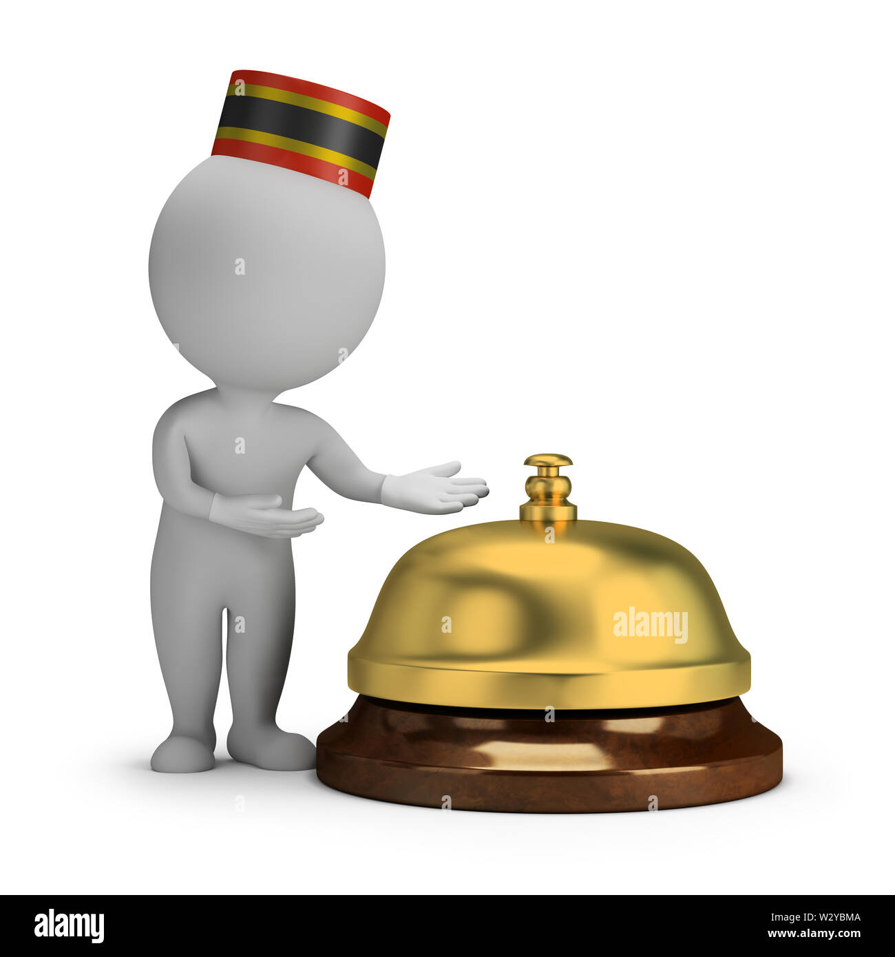 3d small person - bellboy and service bell. 3d image. White background. - Stock Image