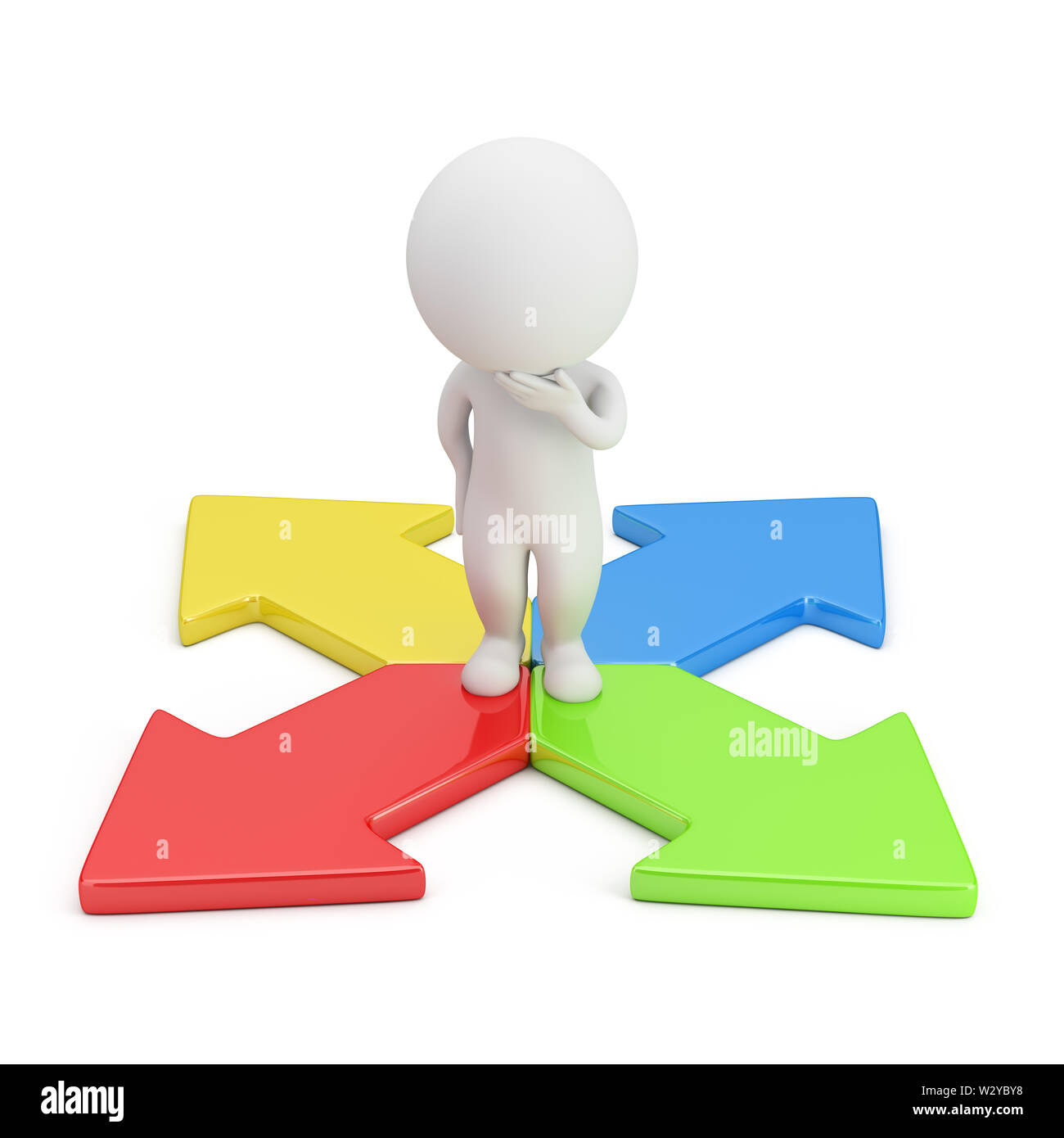 3d small person in a thoughtful pose standing on colorful arrows. 3d image. White background. - Stock Image