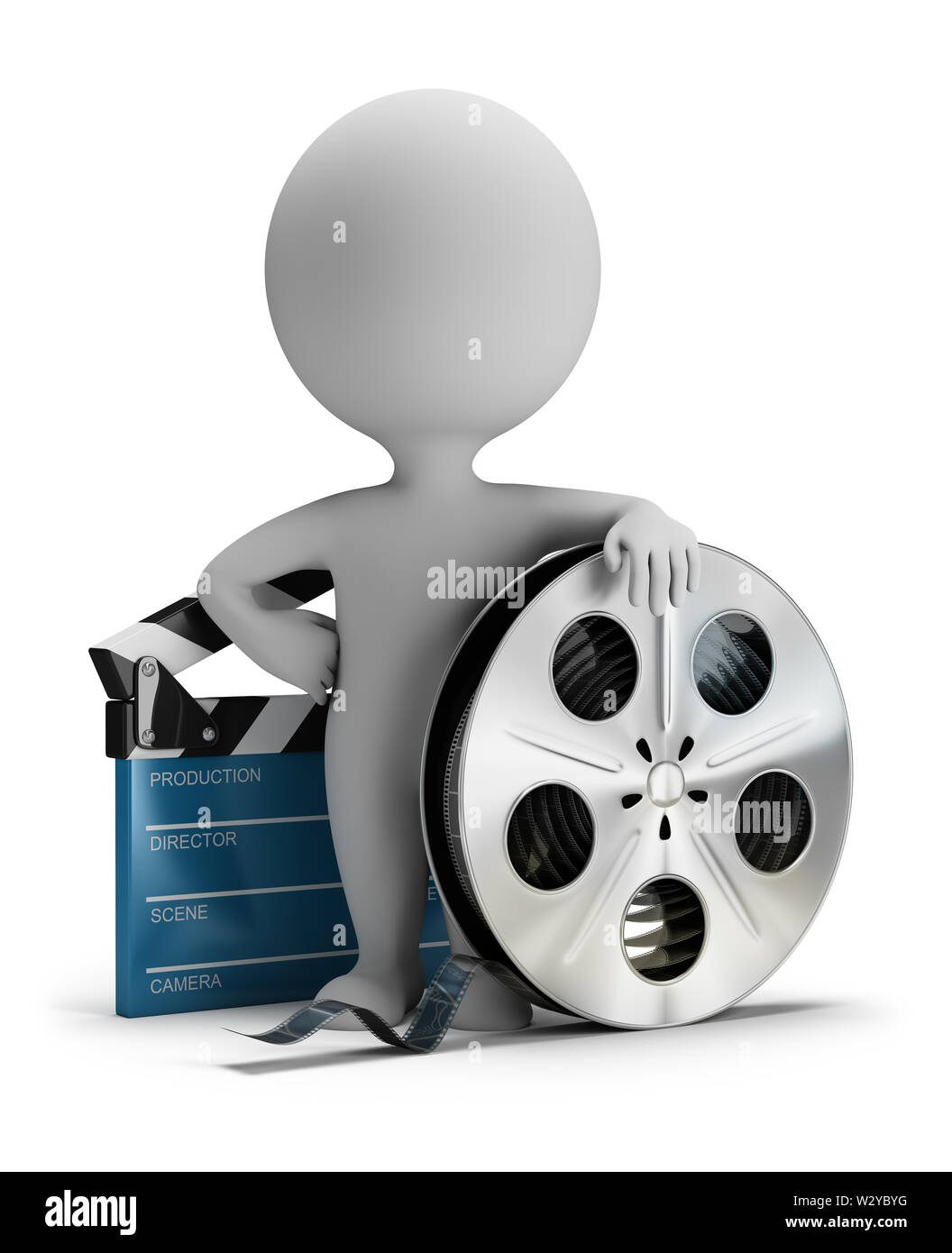 3d small person standing next to cinema clapper and film tape 3d image. White background. Stock Photo