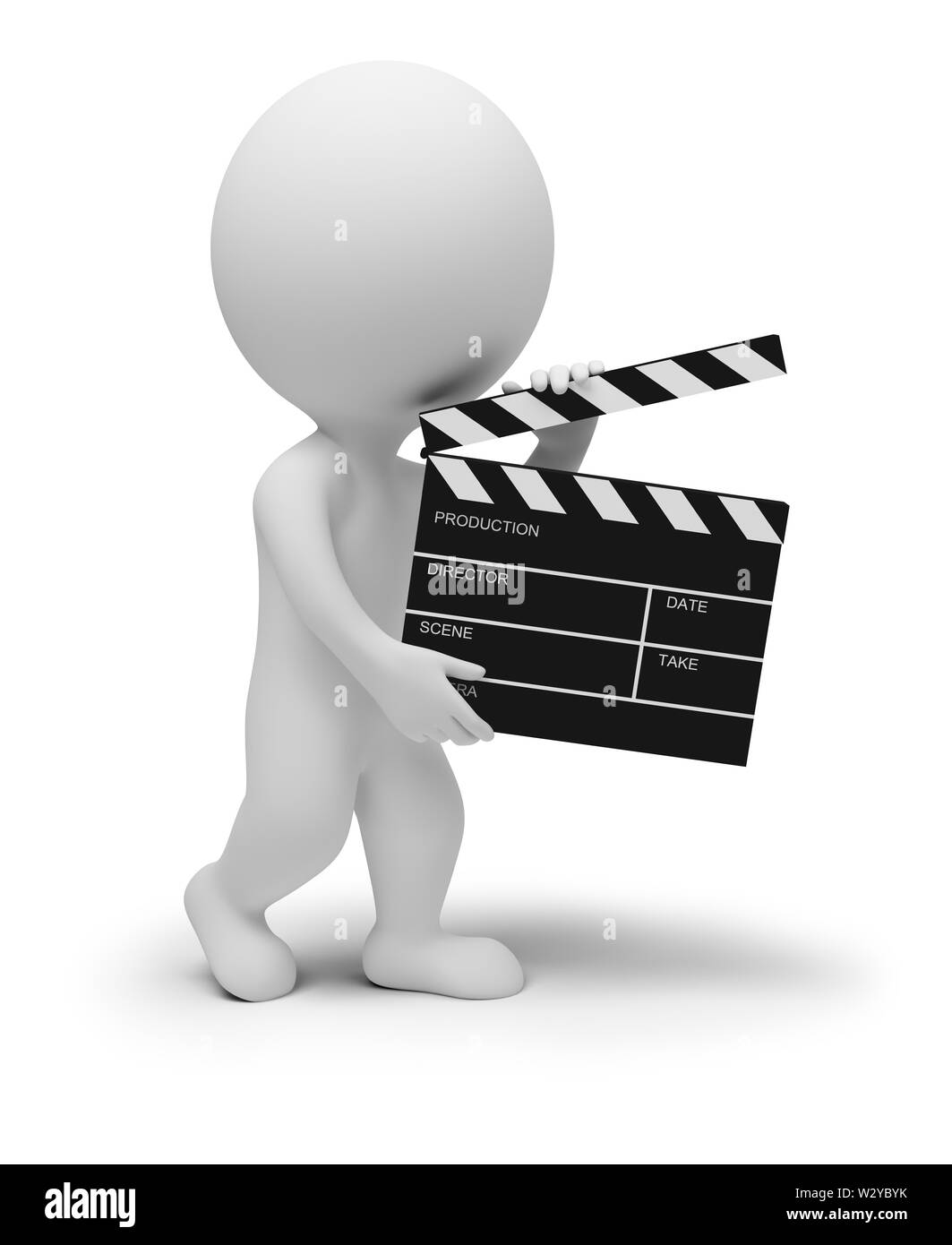 3d small people - director with clapper for movie. 3d image. Isolated white background. Stock Photo