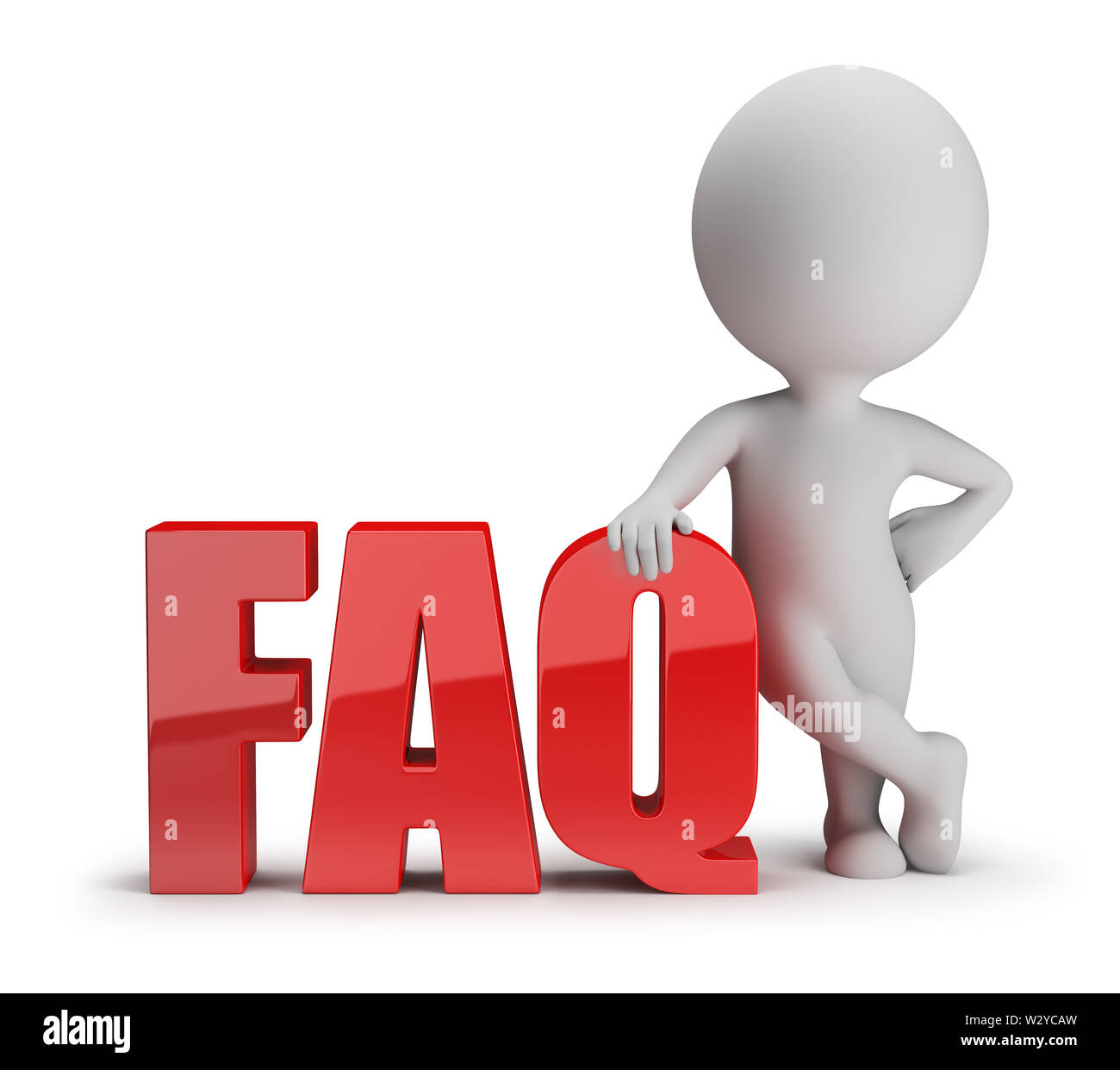 3d small person standing next to FAQ. 3d image. White background. - Stock Image