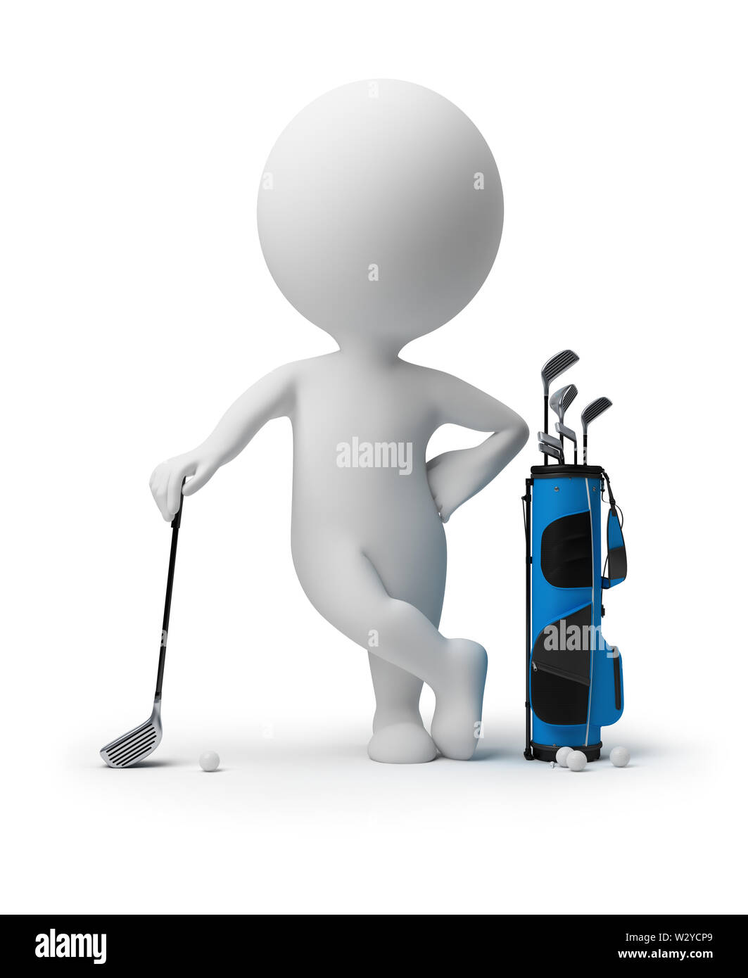3d small person leant the elbows on a stick for a golf near to a bag for sticks. 3d image. Isolated white background. - Stock Image
