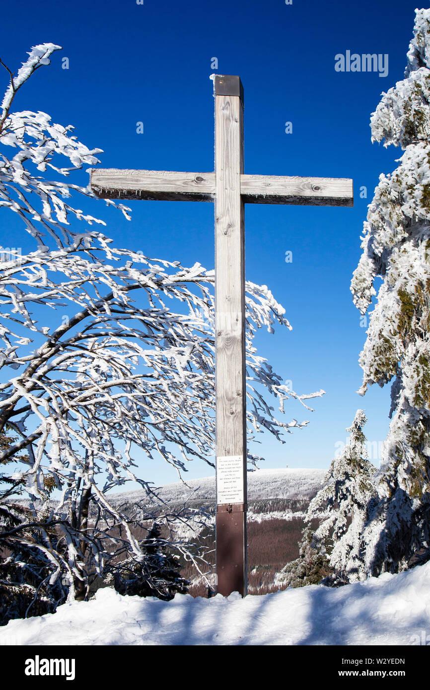 Summit cross on the summit, Wurmberg mountain, Lower Saxony, National park Harz, Braunlage, Germany Stock Photo