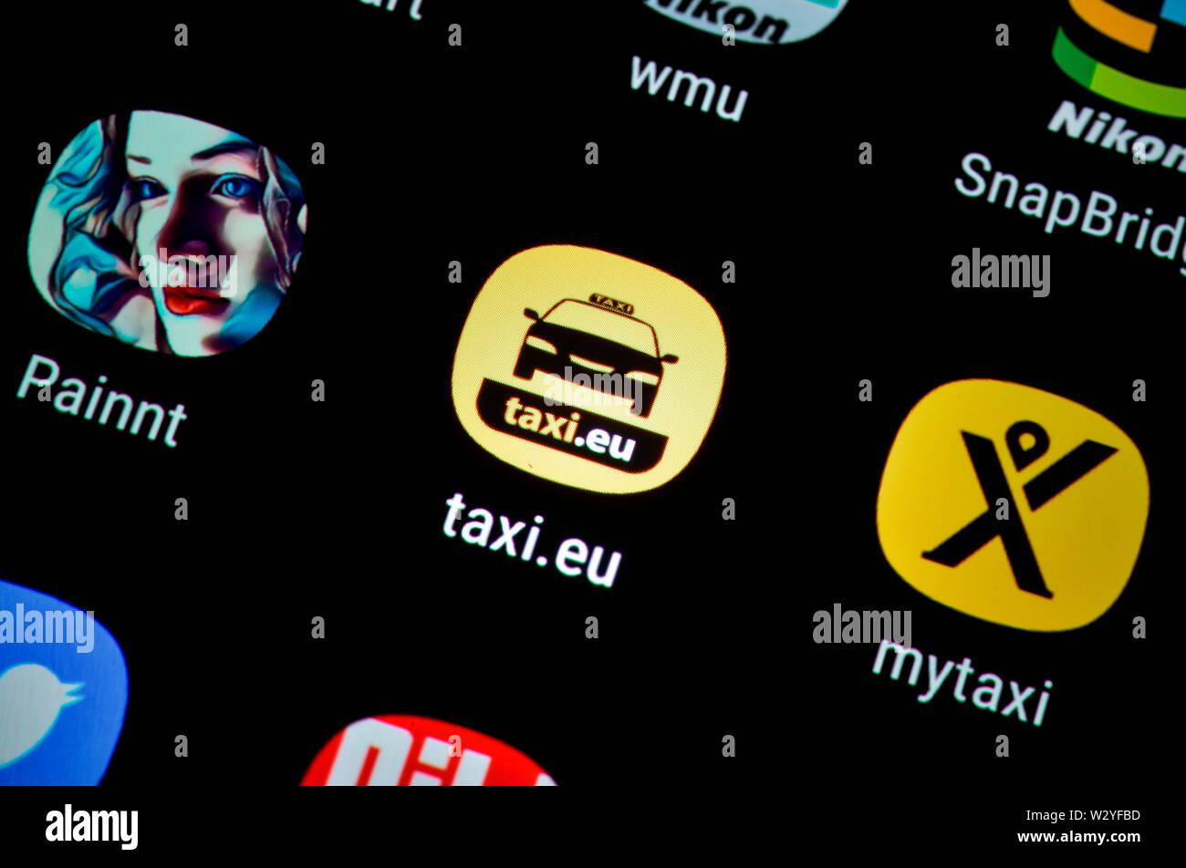 Smartphone, Display, App, taxi.eu - Stock Image