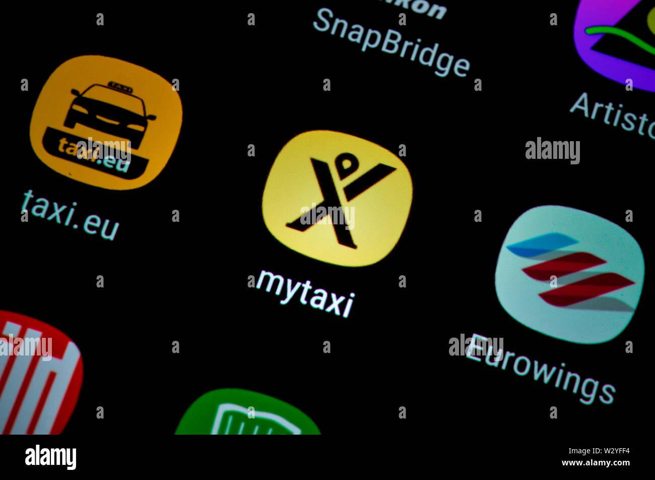 Smartphone, Display, App, mytaxi - Stock Image