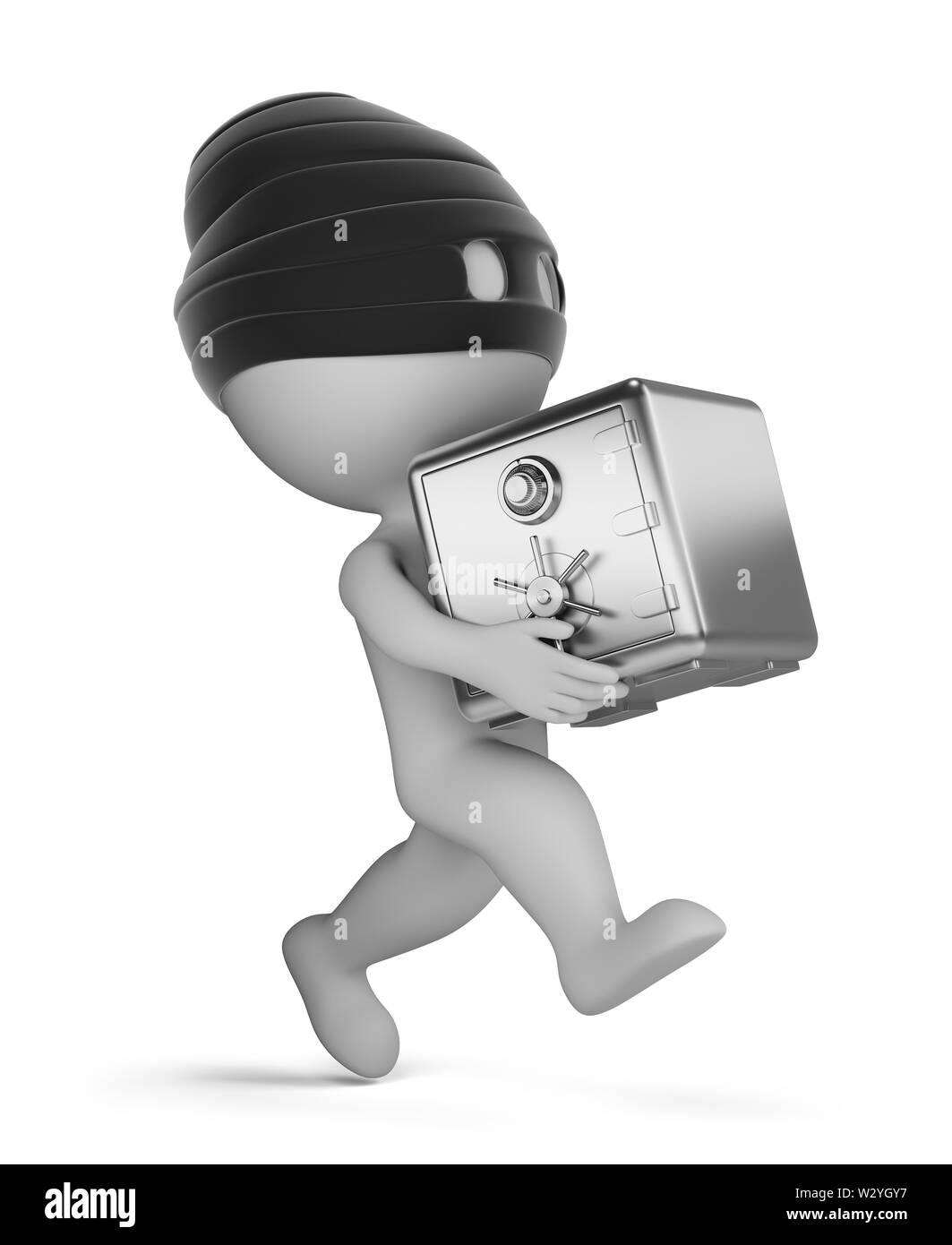 3d small person - running thief with a safe. 3d image. White background. - Stock Image