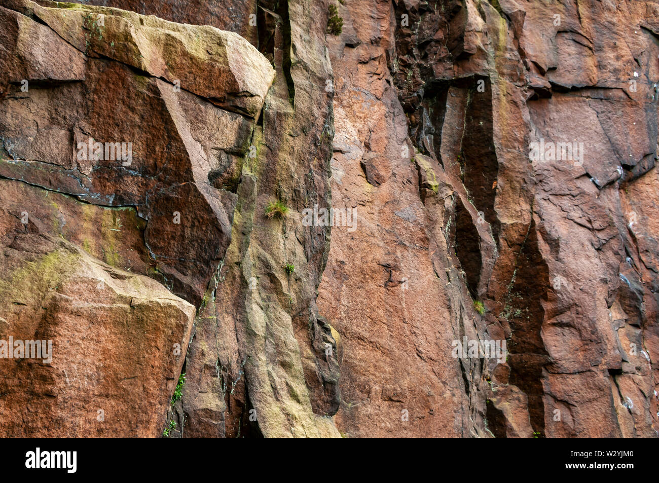 Semi-abstract view of a working face at Millstone Edge Quarry near Hathersage. Stock Photo