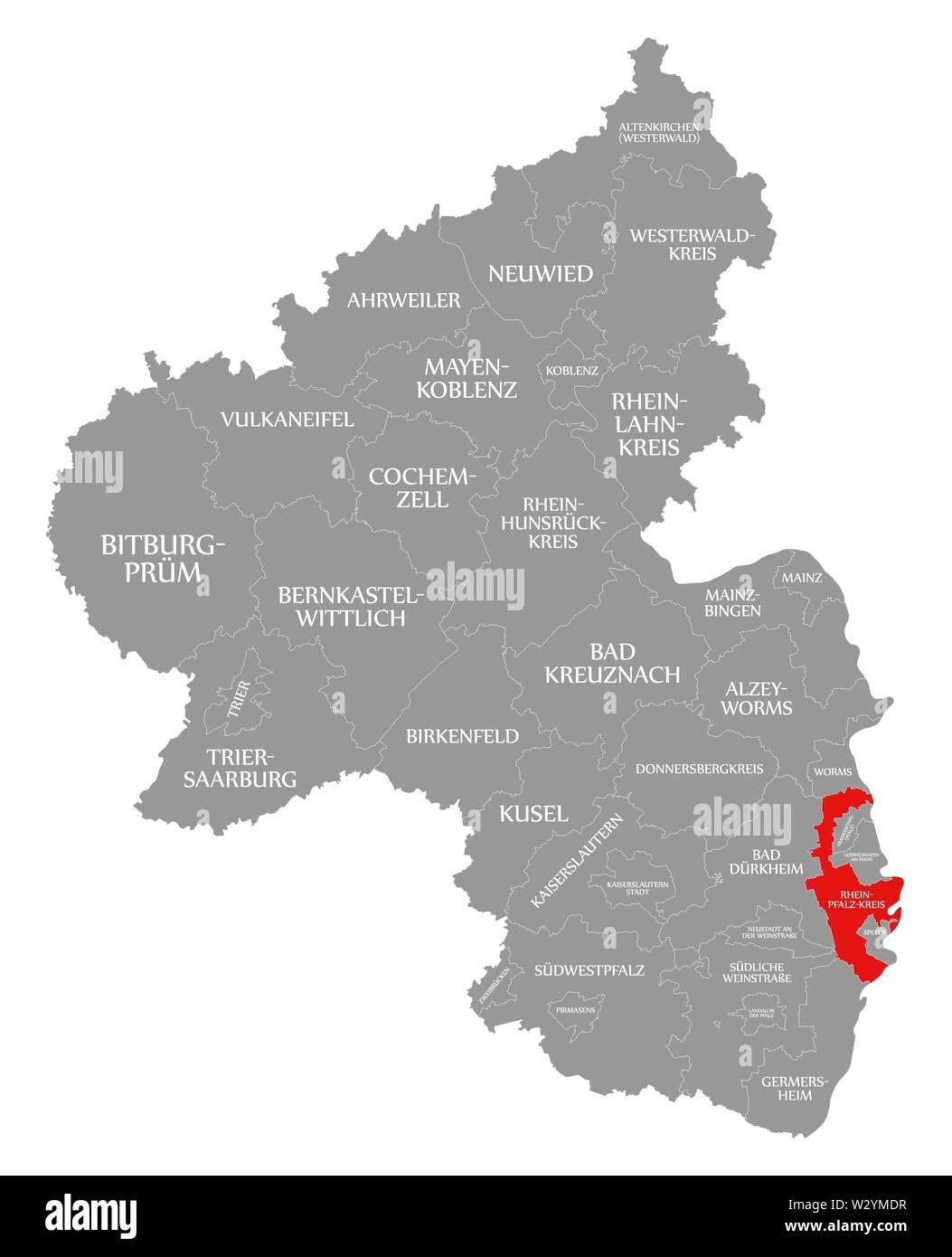 Rhein Pfalz Kreis red highlighted in map of Rhineland Palatinate DE - Stock Image