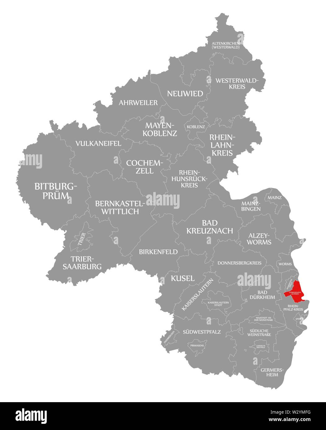Ludwigshafen am Rhein red highlighted in map of Rhineland Palatinate DE - Stock Image