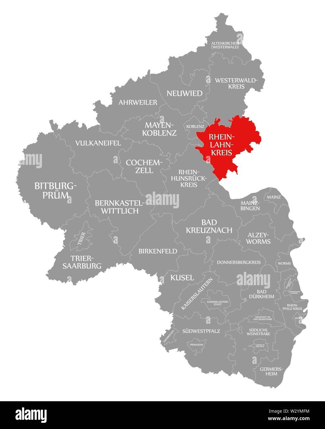 Rhein Lahn Kreis red highlighted in map of Rhineland Palatinate DE - Stock Image