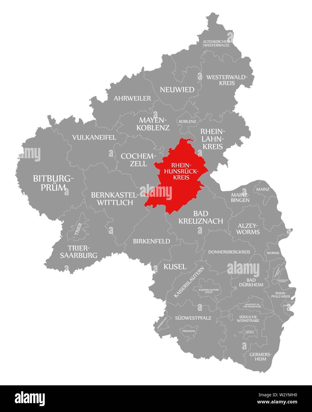 Rhein Hunsrueck Kreis red highlighted in map of Rhineland Palatinate DE - Stock Image