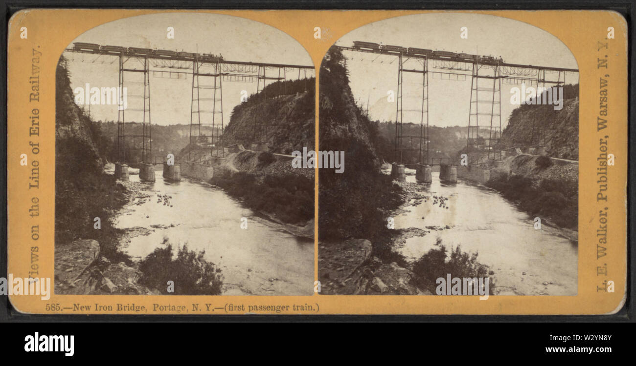 New Iron RR Bridge, Portage, NY -- (first passenger train), by Walker, L E, 1826-1916 - Stock Image