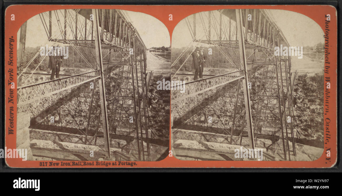 New Iron Rail Road Bridge at Portage, by George L Washburn 2 - Stock Image