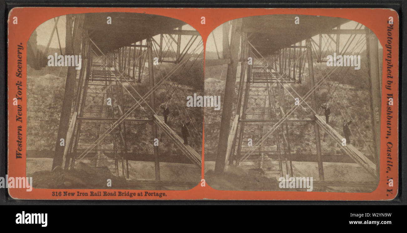 New Iron Rail Road Bridge at Portage, by George L Washburn - Stock Image