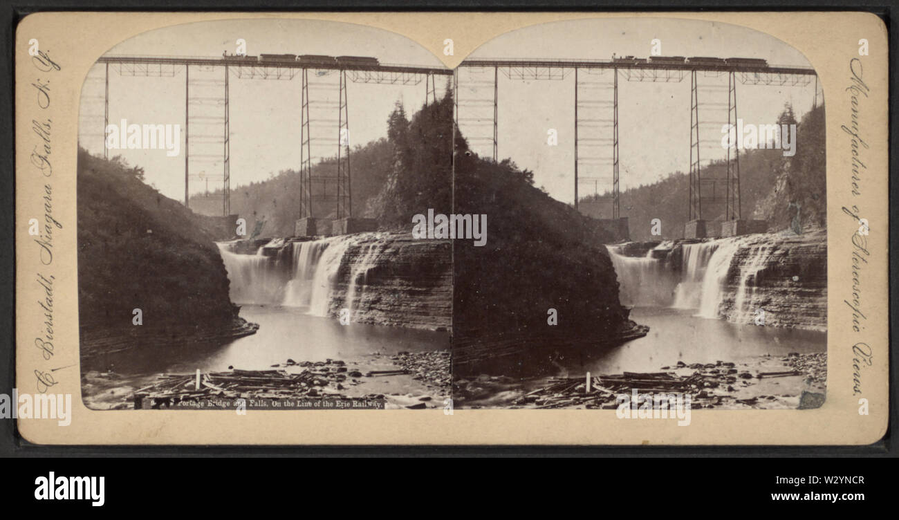 New Portage Bridge and Falls on the Line of the Erie Railway, by Bierstadt, Charles, 1819-1903 2 - Stock Image