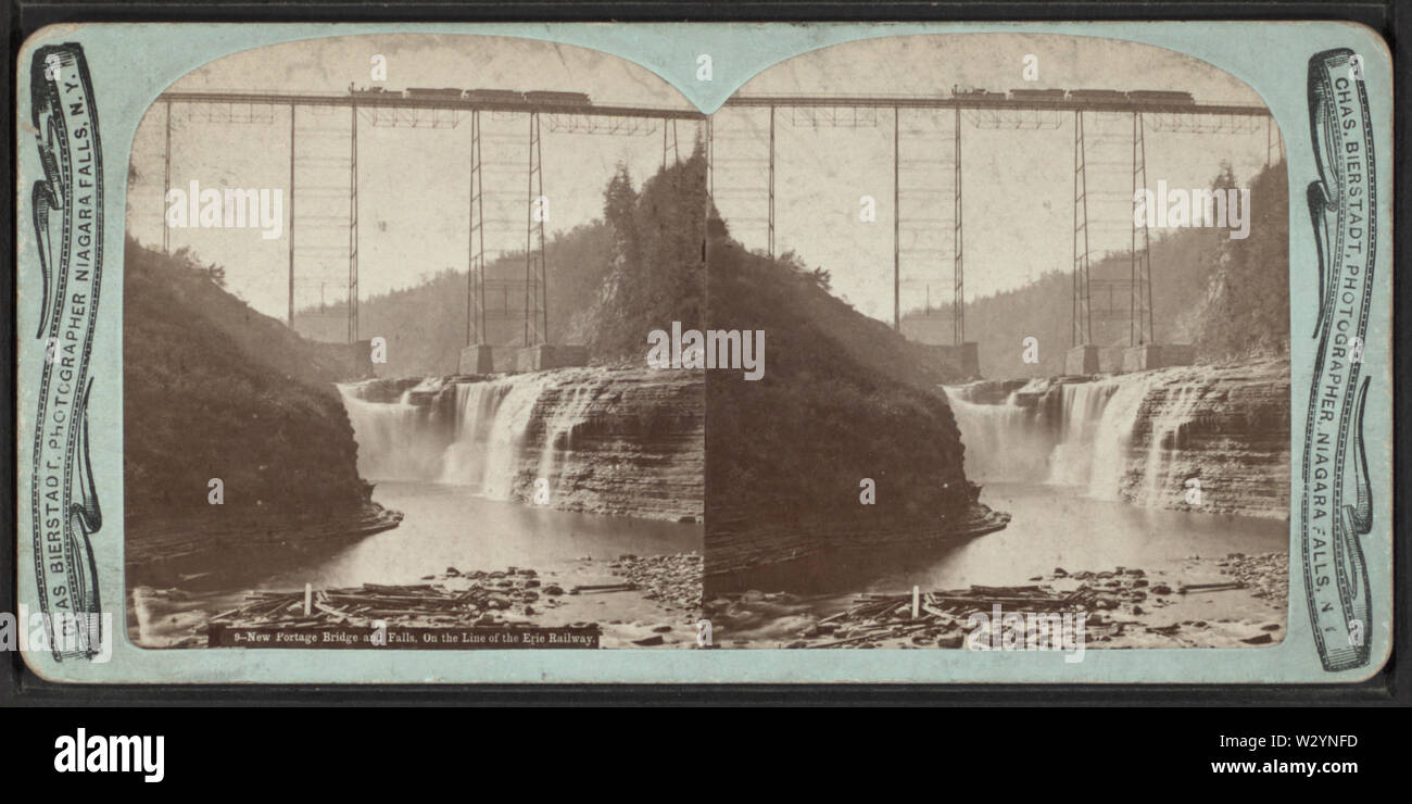 New Portage Bridge and Falls on the Line of the Erie Railway, by Bierstadt, Charles, 1819-1903 - Stock Image