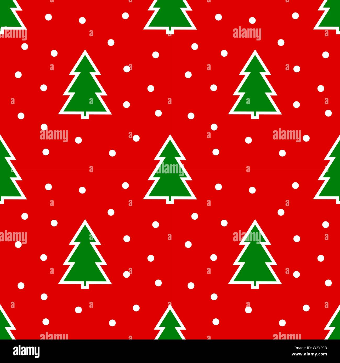 Christmas trees on red background seamless pattern. Vector illustration. - Stock Image
